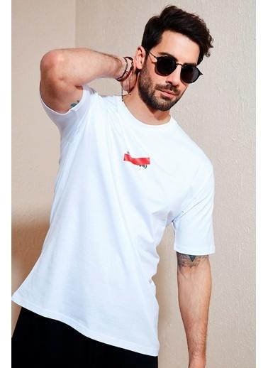 Buratti Buratti Oversize Baskılı Bisiklet Yaka % 100 Pamuk T Shirt Erkek T Shirt 5721019 Beyaz